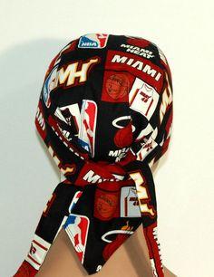 NBA Biker hat Miami Heat Doo Rag with pocket by UniScrubCaps, $10.99