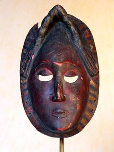 Antique for sale African Yaoure mask in painted wood Mask Head Sculpture Fine arts architecture