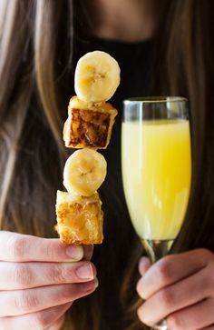 Bananas Foster French Toast Kebabs for a Brunch Party