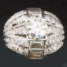 Over 5 carat diamond estate cocktail ring platinum