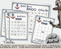 Navy Blue Nautical Anchor Flowers Bridal Shower Theme: Bingo 60 Cards - playtime, relationship, customizable files, printable files - 87BSZ #bridalshower #bride-to-be #bridetobe