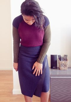 // J.Crew Colorblock Sweater and Zara Faux Leather Skirt | The Feisty House //