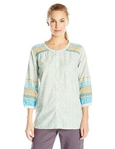 ExOfficio Womens NexttoNothing Geo Print Artisan Shirt Azul Print XSmall *** You can find more details by visiting the image link.