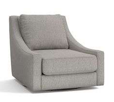 Aiden Upholstered Swivel Armchair, Polyester Wrapped Cushions, Sunbrella(R) Performance Sahara Weave Charcoal