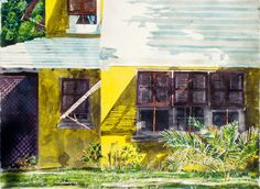 """canary colours on a hot sun day,  breton close, bda    22"""" x 30"""" micheal zarowsky  watercolour on arches paper / private collection"""