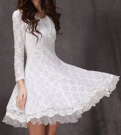 Ladylike Style Solid Color Scoop Neck Lace Long Sleeves Slimming Burnt-Out Women's Dress