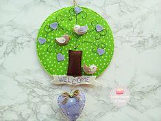 """Fuori porta in feltro con uccellini e cuori viola, decorazione per la porta """"albero della vita"""" in pannolenci idea regalo san Valentino."""