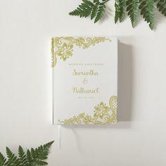 Personalizado de oro encaje boda invitado libro boda libro de visitas personalizado boda libro de visitas - libro de visitas de novia - recuerdo boda