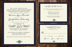 Printable DIY Elegant Wedding Invitation by PerleFemmeDesigns, $35.00