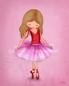 Children art print, Ballerina dancer art print, illustration for girls room, nursery decor,etsy childrens art, kids artwork, pink