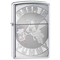 """@ShopAndThinkBig.com - Features high polish chrome finish with Beer is Yummy design engraved on front. Measures 1-1/2"""" x 2-1/4"""" x 1/2"""". Gift boxed. http://www.shopandthinkbig.com/beer-is-yummy-lighter-zippo-p-329.html"""