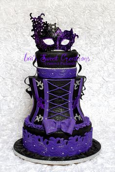 Purple & Black burlesque corset cake with mask on top- STUNNING!!!!!