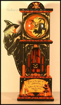 "Halloween Treasures by Cali Lee: ""Halloween Time"" electric pendulum clock Hand Painted"