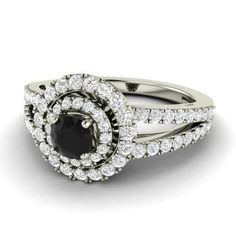 Round Black Diamond Halo Engagement Ring in 14k White Gold with SI Diamond