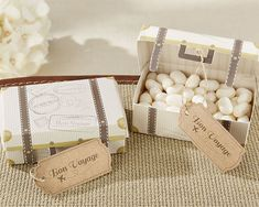 Suitcase Favor Boxes Wedding Travel Theme Candy Boxes Favors - Bridal Shower Retirement Farewell Party - Set of 24 - MW34053 by MoonlightWeddings on Etsy https://www.etsy.com/listing/556807520/suitcase-favor-boxes-wedding-travel