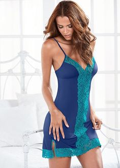 c958b828a Color Block Lace Chemise in Dark Blue   Teal