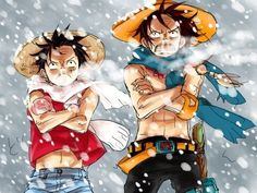 Snow storm - Monkey D. Luffy and Portgas D. Ace One piece