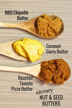 3 Savoury Nut & Seed Butters to boost your health: BBQ Chipotle, Coconut Curry, and Roasted Tomato Pizza. Tastes great with crackers, on toast, or with raw veggies!