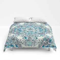 Floral Diamond Doodle in Teal and Turquoise Comforters