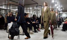 Models on the Loewe runway in Paris