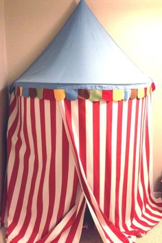 this project you will need: 1 Ikea Mysig tent 4 yards Sofia fabric in red and white stripes (Ikea also carries a version in blue and white stripes) 1 screw hook Nails and ham