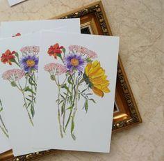Flower card Watercolor illustration art Artist: Maryna Kovalchuk  instagram.com/dyvokolir