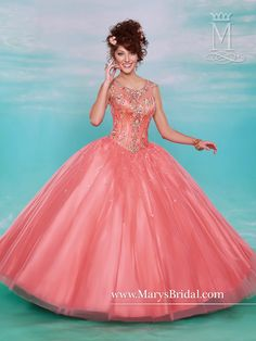 Collection: Quinceanera - Beloving  STYLE: F15-4600   Description: Cap sleeve tulle quinceanera ball gown with scoop neck, keyhole back, bead and embroidery embellishment on a corset bodice and upper skirt, and lace-up back.  Color: Coral, Lipstick, White price$688.00 Sizes: 2-30  Fabric: Tulle