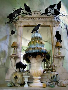 I Love The Ravens All Over This Fireplace Mantle Halloween Or Not