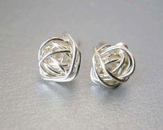 Stud Earrings Sterling Silver Stud Earrings 8mm Silver Love Knots, Silver Earrings Bridesmaids Earrings, Gift Ideas by deezignstudio on Etsy https://www.etsy.com/listing/113400702/stud-earrings-sterling-silver-stud
