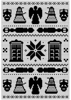 Doctor Who Fair Isle Pattern - for filet crochet, cross stitch, whatever fandom creation you want =) Cross Stitching, Cross Stitch Embroidery, Embroidery Patterns, Cross Stitch Patterns, Stitching Patterns, Needlepoint Patterns, Filet Crochet, Knit Crochet, Crochet Pillow