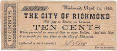 Virginia Confederate Money City of Richmond 10 Cents Fine Jefferson Davis, Confederate States Of America, Virginia, History, City, Money Paper, Pony Express, Civil Wars, American
