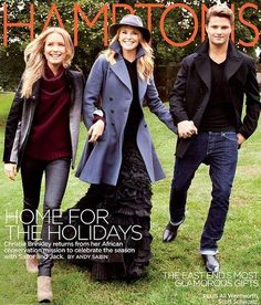 Who made Christie Brinkley's blue coat and black ruffle gown that she wore on the cover of Hampton's magazine? Dress and coat – Alaia