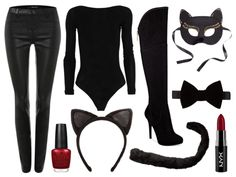 Lorna's Look Halloween is just three days away and if you haven't thought about your outfit yet, we are here to help. We put together a round up of outfits that involve denim last week, which disfraz gatubela disfraz gatubela Purim Costumes, Diy Halloween Costumes, Halloween Cat, Black Cat Costumes, Halloween Kleidung, Maquillage Halloween, Halloween Disfraces, All Black Outfit, Costumes For Women