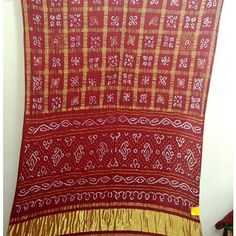 Blouse piece is included. Bandhani Saree, Saree Blouse, First Love, Textiles, Blanket, Saris, Crochet, Red, Outfit Ideas