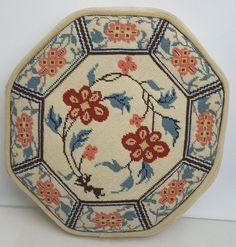 Vintage needlepoint pillow Chinese porcelain motif orange blue off-white octagon…