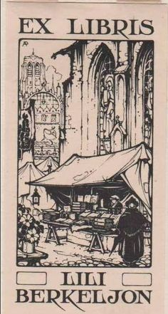 Anton Pieck (1895-1987), Dutch / bookplate for Lili Berkeljon ... depicts bookseller in market square in front of medieval cathedral