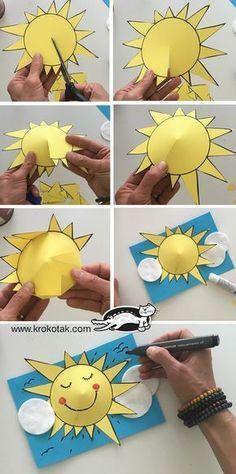 Preschool Sun Art Event – Bastelkarten - DIY and crafts Diy Crafts Easy At Home, Kids Crafts, Arts And Crafts, Paper Crafts, Summer Diy, Summer Crafts, Diy Niños Manualidades, Preschool Crafts, Preschool Activities