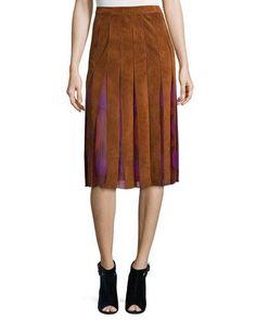 DIANE VON FURSTENBERG Melita Suede & Silk A-Line Midi Skirt. #dianevonfurstenberg #cloth #
