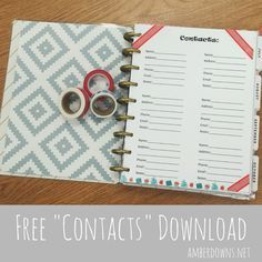Free Happy Planner printable contacts sheet for your MAMBI happy planer or arc planner, or filofax. Save phone numbers, email addresses and other information.