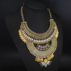Vintage Gold Statement Necklace with snake chain and rhinestone embellishment