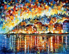 TOWN - PALETTE KNIFE Oil Painting On Canvas By Leonid Afremov - http://afremov.com/TOWN-PALETTE-KNIFE-Oil-Painting-On-Canvas-By-Leonid-Afremov-Size-30-X40.html?utm_source=s-pinterest&utm_medium=/afremov_usa&utm_campaign=ADD-YOUR