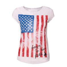 #american fashion american flag t-shirt 4th july Blue Fashion, American Flag, My Style, Casual, T Shirt, Pink Shirts, American Fashion, Polyvore, Clothes