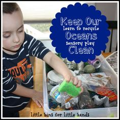 Ocean Recycling and teaching children about pollution in the ocean from Little Bins for Little hands on ALLterNATIVE learning for Earth Month!