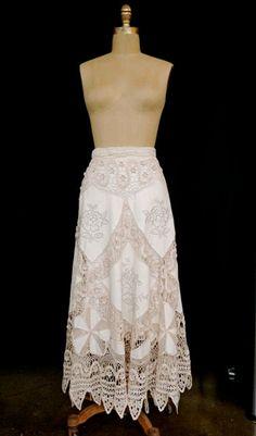 Vintage skirt crochet creme upcycled