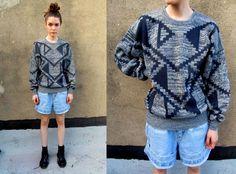 80's Grey Aztec Navajo Chunky Slouchy Geometric Sweater Medium.  via Etsy. - WEEKEND SWEATER!