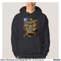 Merry Christmas and a Happy New Year Hoodie Hooded Sweatshirts, Hoodies, Online Shopping Stores, Happy New Year, Fitness Models, Merry Christmas, How To Make, How To Wear, Graphic Sweatshirt