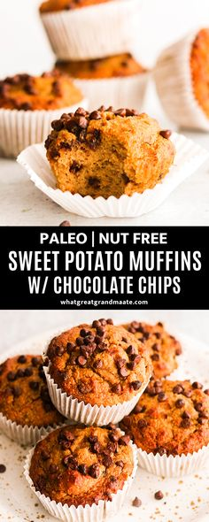 Paleo Sweet Potato Muffins with Chocolate Chips (Nut Free)You can find Paleo dessert and more on our website.Paleo Sweet Potato Muffins with Chocolate Chips (Nut Free) Sweet Potato Dessert, Sweet Potato Muffins, Paleo Sweet Potato, Sweet Potato Breakfast, Sweet Potato Recipes, Paleo Quick Breakfast, Best Gluten Free Recipes, Real Food Recipes, Snack Recipes