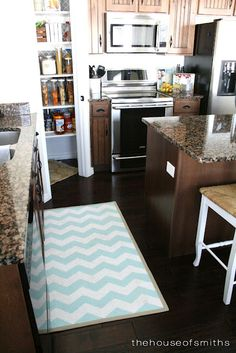 Cute, easy to make, kitchen rug. Been looking for an idea like this! I need a cute rug for my kitchen
