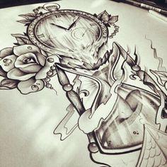 Photos tatouage sablier horloge