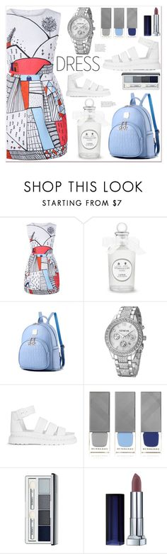 """Dress"" by mycherryblossom on Polyvore featuring Dr. Martens, Burberry, Clinique and Maybelline"